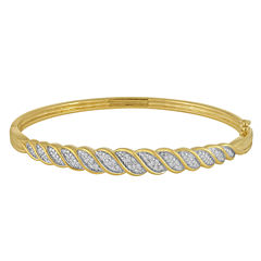 1/10 CT. T.W. Diamond Gold Over Silver Bangle Bracelet