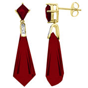 Lab-Created Ruby Earrings 14K Over Sterling