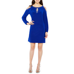 Emma And Michele Long Sleeve Embellished Shift Dress