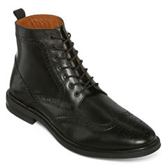 Stafford® Deacon Mens Wingtip Leather Boots