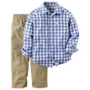 Carter's® 2-pc. Blue Gingham Shirt and Khaki Pants Set - Toddler Boys 2t-5t