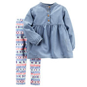 Carter's® 2-pc. Long-Sleeve Denim Shirt and Pants Playwear Set - Toddler Girls 2t-5t
