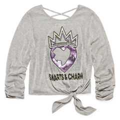 Embellished Scoop Neck 3/4 Sleeve Descendants Blouse - Big Kid Girls