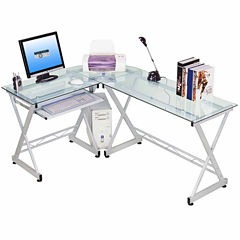 RTA Products LLC Techni Mobili L-Shaped Tempered Glass Top Computer Desk with Pull Out Keybaord Panel