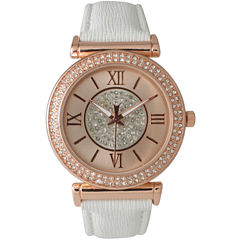 Olivia Pratt Womens Rose Gold Tone Crystal Accent White Leather Strap Watch 14396