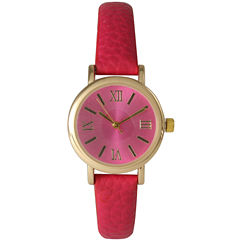 Olivia Pratt Womens Hot Pink Gold Tone Leather Strap Watch 14710
