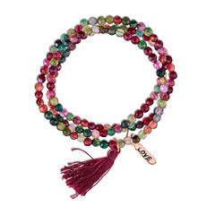 Footnotes Footnotes Womens Red Brass Beaded Bracelet