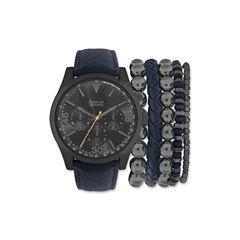 Mens Blue And Gunmetal Strap Watch And Bracelet Set Mst5181Bk100-259