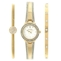 Elgin® Womens Gold Tone Mother Of Pearl Bracelet Watch Set Eg16007Gtst