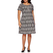 Alyx® Short-Sleeve Textured Fit-and-Flare Dress with Necklace - Plus