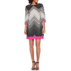Studio 1® 3/4-Sleeve Chevron Dot Print Shift Dress - Petite