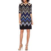 Studio 1® Elbow-Sleeve Chevron Striped Shift Dress - Petite