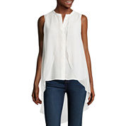 a.n.a® Chiffon Overlay Button-Front Tank Top - Tall