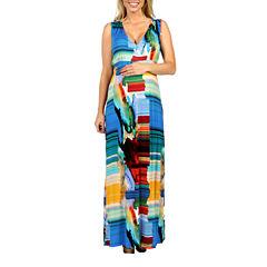 24/7 Comfort Apparel French Watercolors Maxi Dress-Plus Maternity