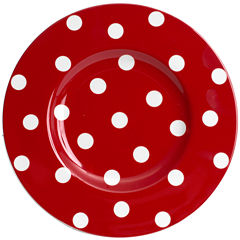 Red Vanilla Freshness Dots Salad Plate