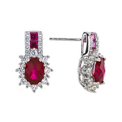 Lab-Created Ruby and White Sapphire Sterling Silver Earrings