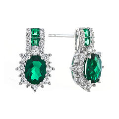 Lab-Created Emerald and White Sapphire Sterling Silver Earrings
