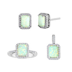 Lab-Created Opal and White Sapphire Sterling Silver Jewelry