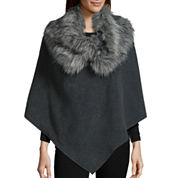 Mixit™ Fleece Poncho with Faux Fur Cowlneck