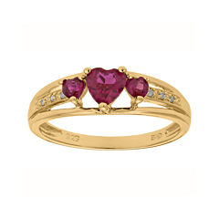 Lab-Created Ruby and Diamond-Accent 3-Stone Heart Ring