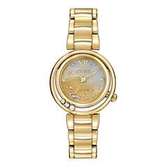 Citizen® Eco-Drive® Womens Diamond-Accent Gold-Tone Watch EM0322-53Y