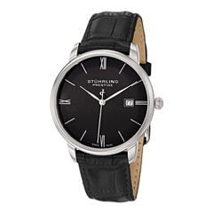 Stührling® Original Mens Black Leather Strap Watch