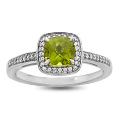 Womens Genuine Green Peridot Sterling Silver Cocktail Ring