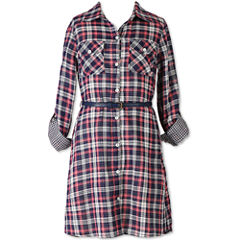 Speechless Plaid Long Sleeve Shirt Dress - Girls' 7-16