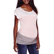 Maternity Short-Sleeve Colorblock Top