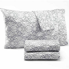 Damask Print Microfiber Sheet Set