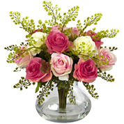 Nearly Natural Rose & Maiden Hair Floral Arrangement With Vase