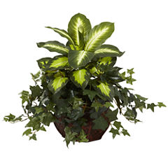 Nearly Natural Dieffenbachia & Ivy with Decorative Planter