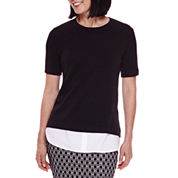 Sag Harbor® Short-Sleeve Modern Geo Layered Sweater