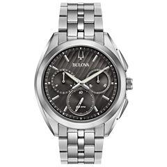 Bulova Curv Mens Silver Tone Bracelet Watch-96a186