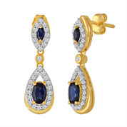 Lab Created Blue & White Sapphire 14K Gold Over Silver Earring