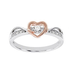 Lumastar Diamond-Accent Sterling Silver and Rose Gold Over Sterling Silver Heart Ring