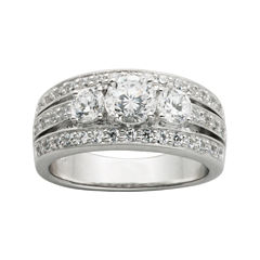 diamonart cubic zirconia sterling silver 3 stone wedding band - Jcpenney Mens Wedding Rings