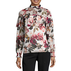 Worthington Long Sleeve Crew Neck Floral T-Shirt-Womens