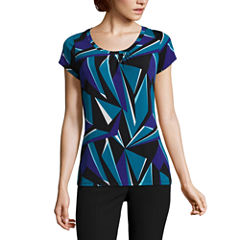 Worthington Short Sleeve Scoop Neck T-Shirt-Womens