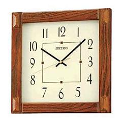 Seiko® White Dial Brown Square Wall Clock Qxa469blh