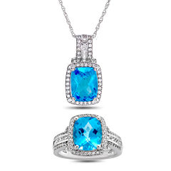 Genuine Blue Topaz & Lab-Created White Sapphire Sterling Silver 2 Pc. Ring & Pendant Boxed Set