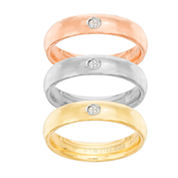 Tri-Color Stainless Steel Cubic Zirconia Triple Band Ring