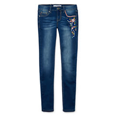 V Gold 5-Pocket Floral Embroidered Skinny Jeans - Girls 7-16