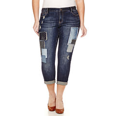 Love Indigo Patch Denim Boyfriend Jeans - Plus
