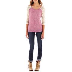Arizona 3/4-Sleeve Lace Tee or 5-Pocket Skinny Jeans