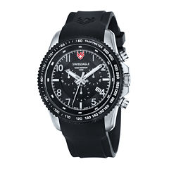 swiss eagle men s watches for jewelry watches jcpenney swiss eagle® landmaster mens black dial black stainless steel chronograph watch se 9044