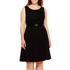 Alyx® Sleeveless Belted Bi-Stretch Dress - Plus