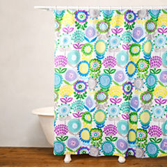 Crayola Pointillist Pansy No Liner Shower Curtain