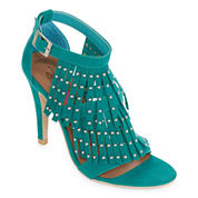 First Love Lantern Studded Fringe Sandal Pumps