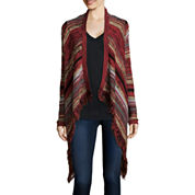 Arizona Long-Sleeve Patterned Fringe Cardigan - Juniors